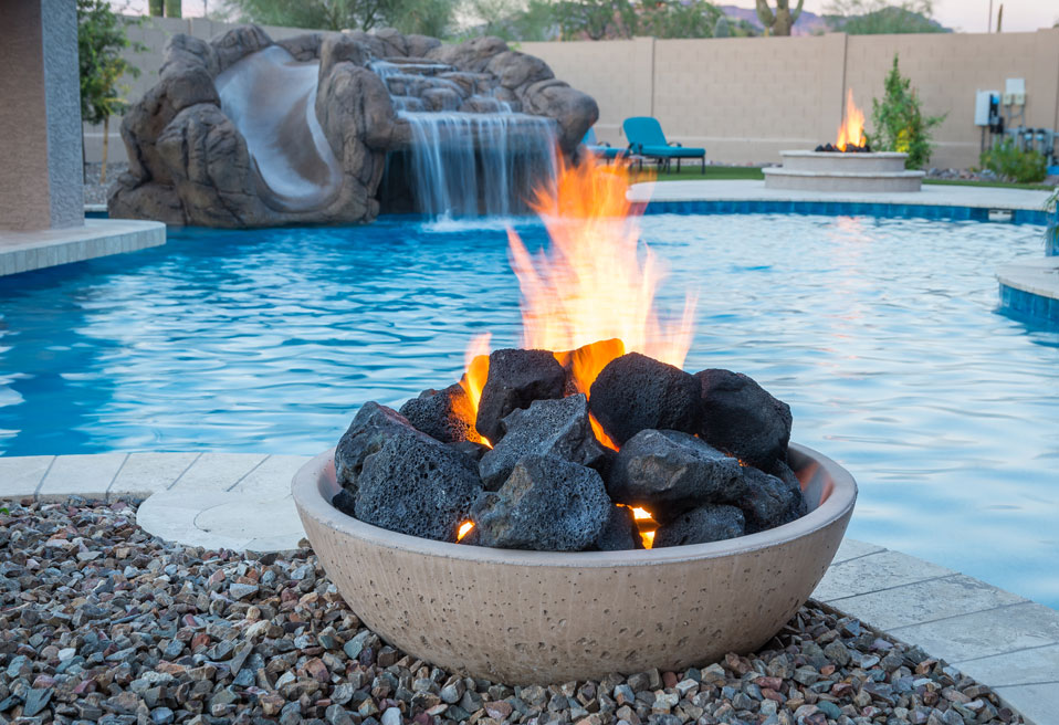 Rocks with fire from Burner